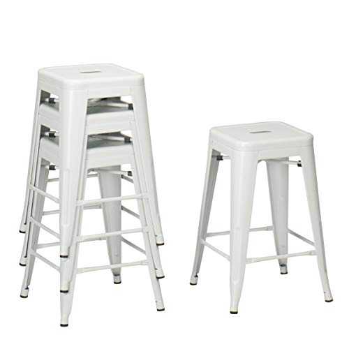Changjie Furniture Backless Industrial Metal Bar Stool Kitchen Stackable Counter Bar Stools Set of 4 (26 inch, Backless White)