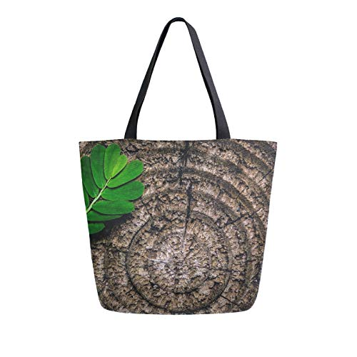 JinDoDo - Bolsa de lona anual con anillas de color marrón, hojas abstractas, reutilizable, para compras, viajes, playa, escuela