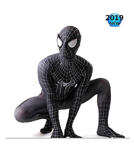 Cosplay Spiderman Kostuum Kleding 3D Digitale Print Kostuum Zwart Spiderman Een Stuk Strakke Kleding Kinderen Volwassen Kostuum Halloween 90-100cm Zwart