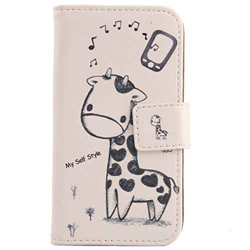 Lankashi PU Flip Leder Tasche Hülle Hülle Cover Handytasche Schutzhülle Etui Skin Für Archos 50 Helium / 50b Helium 4G Giraffe Design