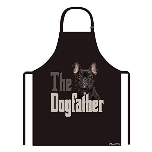 BAGEYOU The Dogfather French Bulldog Puppy Apron Dog Dad Kitchen Baking Apron 29x34 Inch