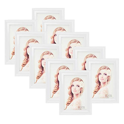 """Houseables 4""""x6"""" Picture Frames Set, Wall Frame, 12 Pk, White, Wood, Glass, Bulk Party Package, Décor, for Living Room Decorations, Family, Kids Art, Artwork Display, Couples, Apartment, Home, Desks"""
