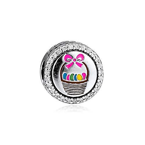 Pandora 925 Braccialetto di gioielli Naturale Adatto a cesto di Pasqua Charm Perline in argento...
