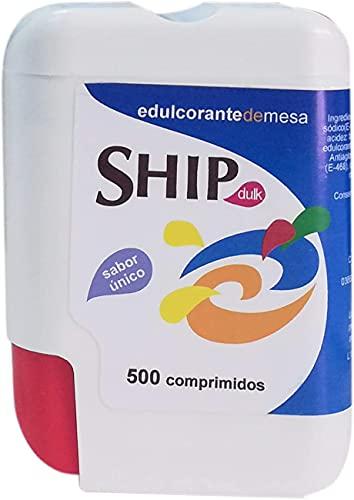 SHIP Bote 500 Comprimidos Edulcorante Base SACARINA ENDULZANTE 500grageas DULK, Plástico
