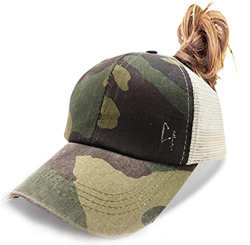 Criss Cross Baseball Caps, Women Ponytail Mesh Hat Distressed High Messy Bun Trucker Ponycap Camo