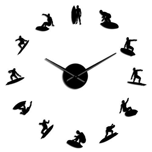 Reloj de pared con diseño de siluetas de surf y espejo, ideal para practicar deportes acuáticos, wakeboard, surfistas, decoración del hogar, reloj de pared moderno, 27 pulgadas