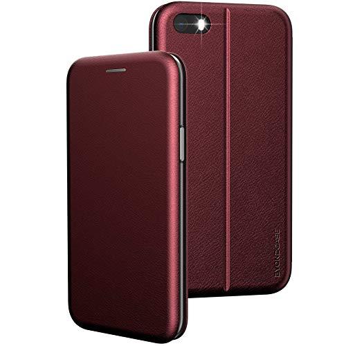 BYONDCASE iPhone SE Hülle 2016 Rot, iPhone 5s Hülle, iPhone 5 Handyhülle [Deluxe Leder Flip-Hülle Klapphülle] Fullbody 360 Grad R&umschutz kompatibel mit dem iPhone 5s / 5 / SE2016