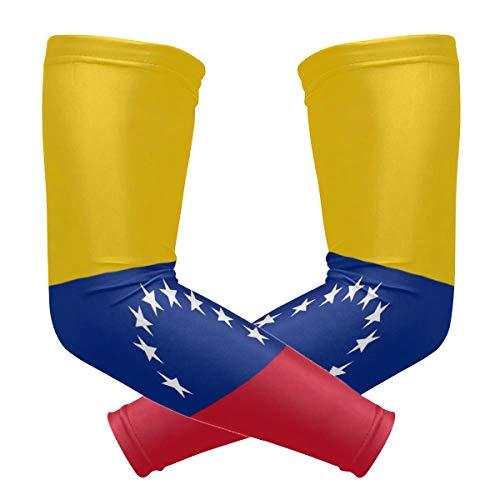 ZZKKO Venezuela bandera de enfriamiento brazo mangas cubierta UV protección solar para hombres mujeres correr golf ciclismo brazo mangas 1 par