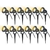 HENGMEI 12x4W Gartenleuchte LED Gartenstrahler mit Erdspieß IP65 Wasserdicht Warmweiß Garten Scheinwerfer Gartenlampe (ohne Stecker)