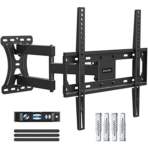 Amazon Brand - Eono Soporte TV Pared Giratorio y Inclinable para la Mayoría de 26–55 Pulgadas (66cm-140cm) LED, LCD, y OLED Televisores hasta VESA 400x400mm y 27kg, con Tacos Fischer, Brazo TV PL2432