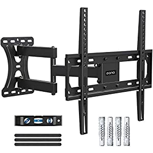 Eono by Amazon - Soporte TV Pared Giratorio y Inclinable para la Mayoría de 26–55 Pulgadas (66cm-140cm) LED, LCD, y OLED Televisores hasta VESA 400x400mm y 27kg, con Tacos Fischer, Brazo TV PL2432