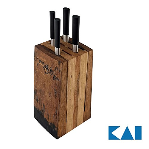 Exklusives Messerblockset Kai Wasabi Black 67-W18 | ultrascharfes Kochmesser-Set | Kochmesser +Allzweckmesser + Officemesser + Brotmesser +massiver Messerblock aus Alten Fassdauben (Eiche)
