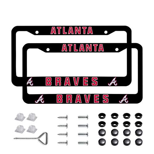 Yaweya Football Team Logo 2 Pcs Car Licenses Plate Frames 2 Holes Stainless Steel(Atlanta_Braves)