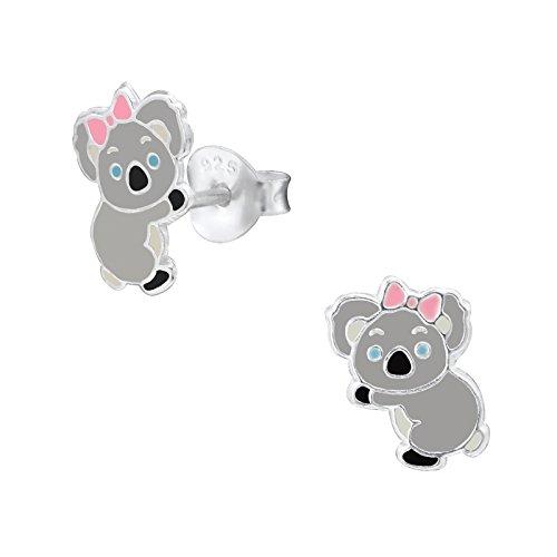 Monkimau Pendientes de niña koala de plata de ley 925 auténtica con lazo