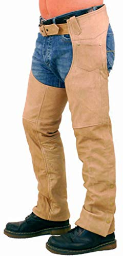 Jamin' Leather - Light Brown Leather Motorcycle Chaps #C704N (Size: L)