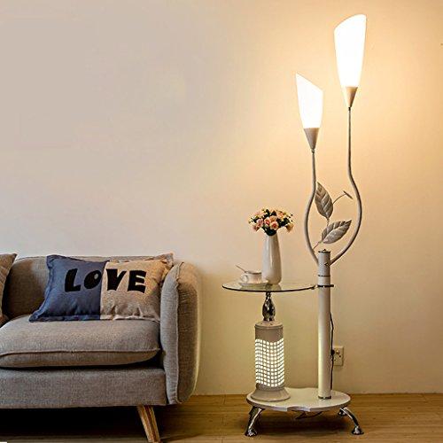 QIFFIY Lámparas de pie Lámpara de pie Moderna con estantes de Vidrio, 2 Pantallas de acrílico Blanco Claro, lámpara de pie de Metal decoración para Dormitorio, H171CM lámparas de pie (Color : White)