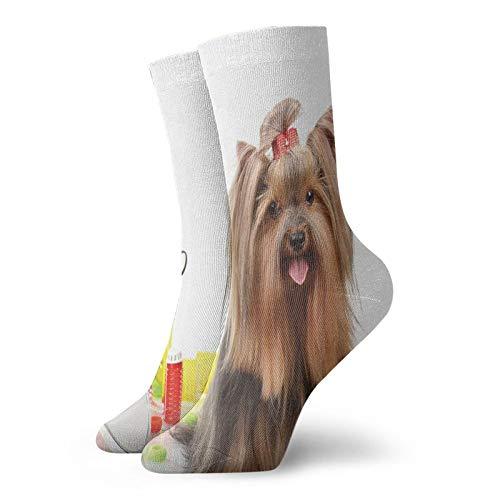 Calcetines suaves de longitud media de pantorrilla, Yorkshire Terrier con elegante equipo de peluquera con tijeras de espejo, calcetines para mujeres y hombres, los mejores para correr
