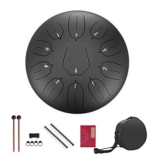 Kacsoo Hang drum steel drumTambor de acero 12 pulgadas 11 Notas Instrumento de percusión de tambor de lengua de acero con bolsa de transporte de mazos de tambor (Negro)