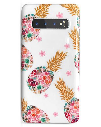 J.west Galaxy S10 Plus Case, Luxury Pineapple Design Cute Phone Case Girls Women Pretty Translucent Clear Slim TPU Soft Rubber Silicone Cover Protective Case for Samsung Galaxy S10 Plus Colorful