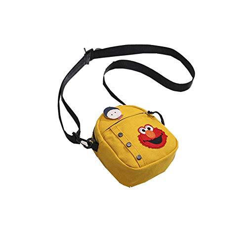 FRYH North Bag Canvas Bag Donna/Estate New Student Cartoon Sesame Street Messenger Bag/Tracolla Piccola Borsa Quadrata,Yellow