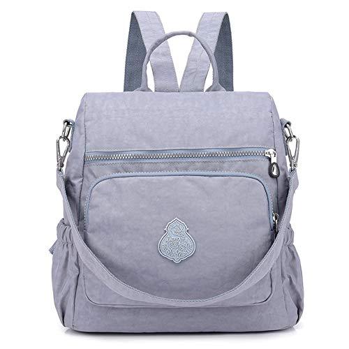 Estwell Rucksack Damen Elegant Schulrucksack Damenrucksack Handtasche Daypack Wasserdicht Nylon Mädchen Schultasche Reiserucksack Anti Diebstahl Rucksäcke, Grau