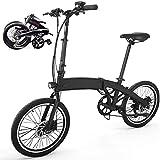 Pro Bicicleta Eléctrica Plegable para Hombres y Mujeres, Neumático Grueso Aleación de Aluminio Bicicleta Electrica Plegable para Ciudad de 250 W con Batería de 36 V y 7,8 AH, 32kM/H 30-45kM 18.5KG