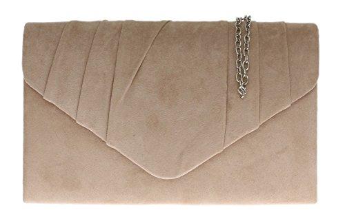Girly Handbags Bolso de mano para mujer, de ante sintético, plisado, para fiesta de noche