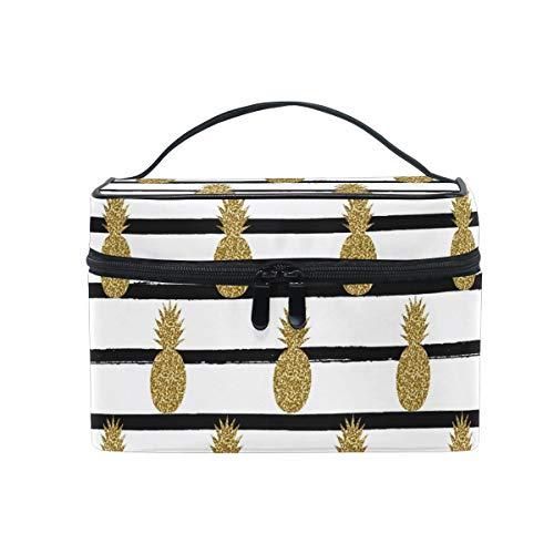 Trousse de maquillage dorée avec motif ananas - Grande poignée de voyage - Personnalisable - Avec compartiments - Pour adolescentes et femmes