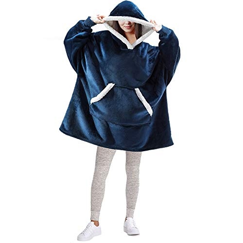FEDERI The Original Oversized Sherpa Wearable Blanket Hoodie | Plush Fleece Blanket Sweatshirt with Pockets and Sleeves for Men and Women | One Size Fits All (32x44 inches) (Navy)