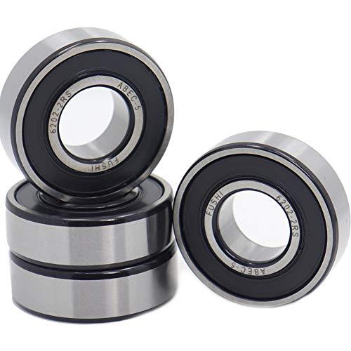 6202-2RS - Rodamientos de doble junta de goma (15 x 35 x 11 mm, rodamientos de bolas con ranura profunda de torno ABEC-5 (paquete de 4 unidades)