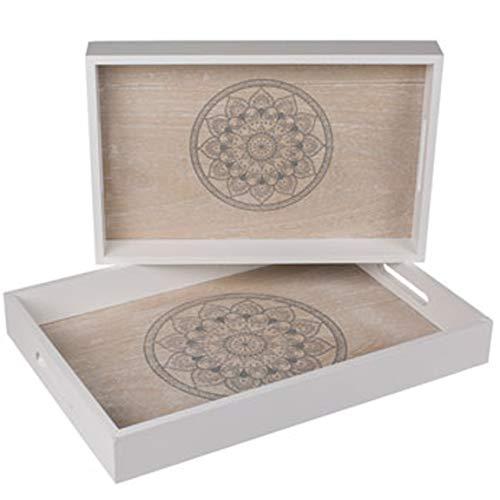 Bada Bing 2er Set Tablett Mandala Dekotablett Natur Weiß Deko Geschenk Holztablett in 2 Größen 59