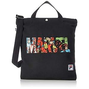 [フィラ] トートバッグ マーベル コラボ メンズ レディース 斜めがけバッグ キャンバス 綿100% 2WAY a4 ブランド ロゴ ブラック FMC3007
