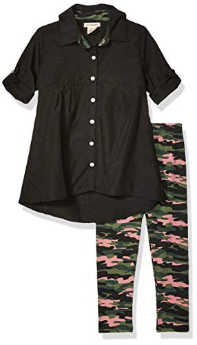 One Step Up Girls' Toddler Woven Tunic and Legging Set, Black Pink Camouflage, 2T