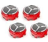 UG 4X Tappi Coprimozzo 75mm Logo Mercedes Rosso e Nero Rialzato per Classe A B C E CLA CLK M ML S 4Matic - per Borchie Cerchi Lega