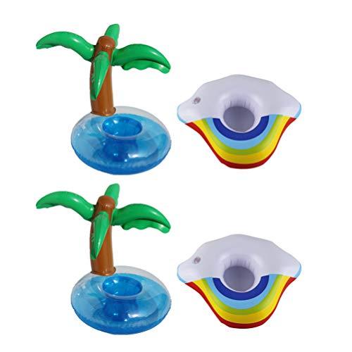 PRETYZOOM 4 Unids Posavasos Inflables Flotadores Soporte para Bebidas Palmera Nube Flotante Piscina Portavasos para Niños Piscina Juguete Verano Piscina Fiesta en La Playa Decoración