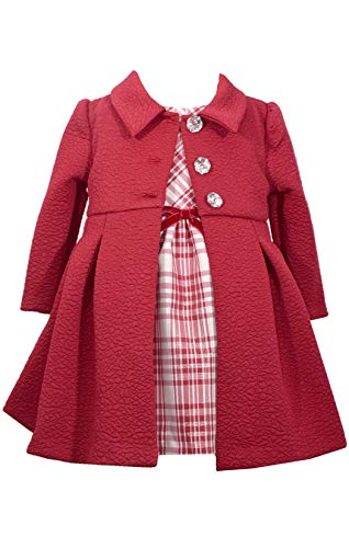 Bonnie Jean Baby-Girls Houndstooth Coat and Dress Set (2T, Burgundy)