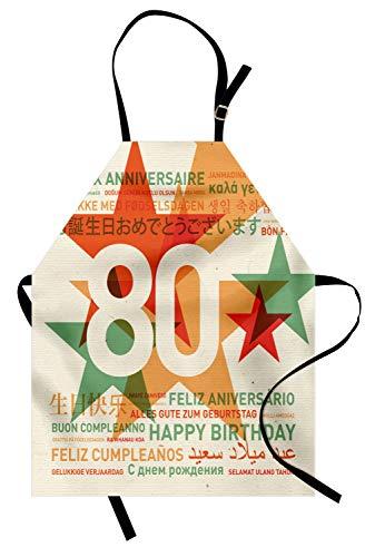 ABAKUHAUS Cumpleaños 80 Delantal de Cocina, Fiesta de 80 Años con Mejores Deseos Feliz Cumpleaños Universal, No Se Ensucian Fácilmente Moderna Tecnología de Estampado, Bermellón Claro