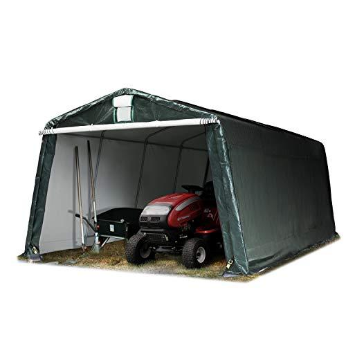 TOOLPORT Garagenzelt Carport 3,3 x 6,2 m in dunkelgrün Weidezelt Unterstand Lagerzelt ca. 260 g/m² Plane und Stabiler Stahlrohrkonstruktion