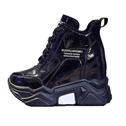 Winter Platform Sneakers Voor Vrouwen Verborgen Toenemende Dikke Wigschoenen Herfst 9cm Hoge Hak Trainers Warm Casual Veterschoen Enkellaarzen