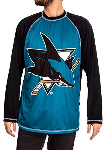 NHL Mens Performance Long-Sleeve Rash Guard (San Jose Sharks, Medium)