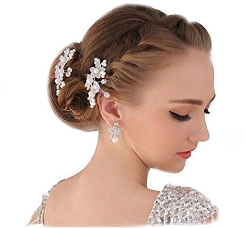 Unbekannt 2 XL Haarnadeln Tiara Haarblume Haarschmuck Strass Perlen Hochzeit Kommunion Braut Taufe Haarnadeln XL Haarnadeln