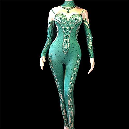 SeqSh Mono De Discoteca para Mujer Boda Fiesta De Cumpleaños Cantante Bailarina Escenario Gogo Disfraces Cristal De Cristales Brillantes Body, Verde