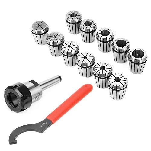 Mnjin Präzisions-Spannzangenfutter-Set ER32 + MT2-Schaftgriffhalter + Schraubenschlüssel für Fräsmaschine mit Box