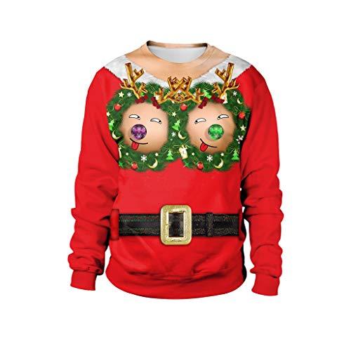 Sexy Lustige Elch Nippel Drucken Sweatjacke Sweater Tops Herren Weihnachten hässlich Pullover Bluse Coat 4D Gürtel Langarm Oberteile Christmas Sweatshirt Karneval Party Club Dress up Xmas Oberteil