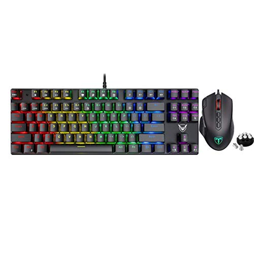 Pictek Gaming Keyboard and Mouse, [12000 DPI] [10 Programmable Buttons] [Weight Tuning Set] Ergonomic Mice, [Compact 87 Key] [RGB Backlit] [100% Anti-Ghosting] [27 LED Lighting Modes] Keyboard, Bundle