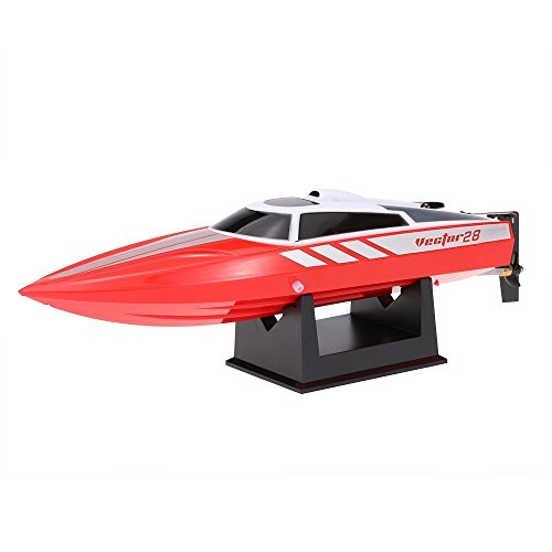 FMT Radio Remote Controlled 2.4GHz High Speed 30km/h Electric RC Boat for Pools Bathtubs Lakes, Best Gifts for Kids and Adults Red (Only Work In The Water)