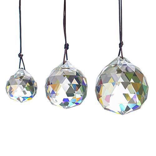H&D 3 stück 30/40/50mm Klarglas Kristallkugel Prisma Feng Shui Lampe Hänge Tropfen Kronleuchter Anhänger Sonnenfänger