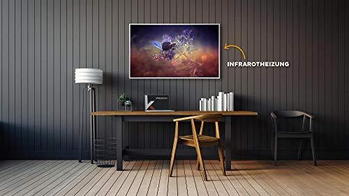 Könighaus Fern Infrarotheizung – Bildheizung in HD Qualität mit TÜV/GS – 200 Bilder – mit Könighaus Smart Thermostat und APP für IOS/Android – 600 Watt (115. Schmetterling Blume) Bild 2*