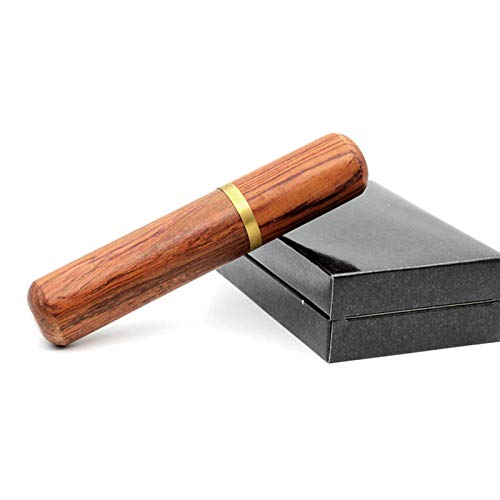 TIANYOU Tubo de Cigarro Hecho a Mano, Cámara Portátil Personalizada Humidor Caja de Cigarros, Tubo de Cigarro de Madera de Palisandro Natural, Tubo de Humedad de Cigarro Tubo Hidrat