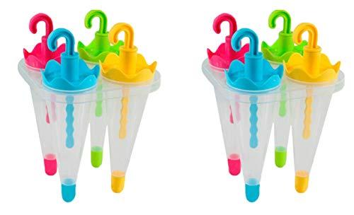 Set of 2 Umbrella Ice Pop Maker Mold Popsicle Dessert Ice Cream Frozen Pops Cake Treats (2 Popcicle Molds)